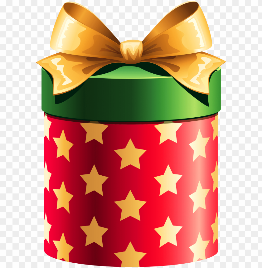 Round Red Gift Box With Gold Stars Christmas Gift Box
