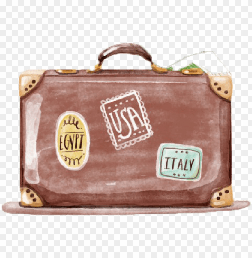 free PNG royalty free download luggage drawing watercolor - watercolor suitcase PNG image with transparent background PNG images transparent