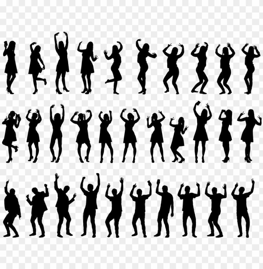 free PNG silhouette, party, people, dancing, men, women, happy - people silhouette PNG image with transparent background PNG images transparent