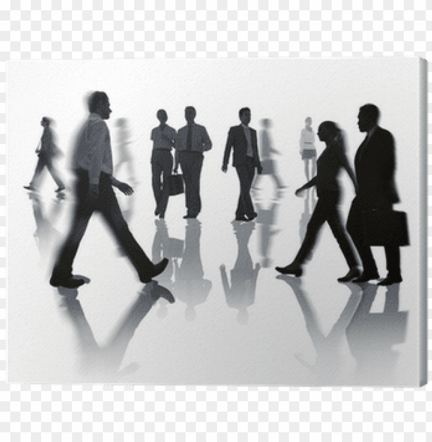 Foto Sagome Persone.Silhouettes Of Business And Casual People Walking Canvas