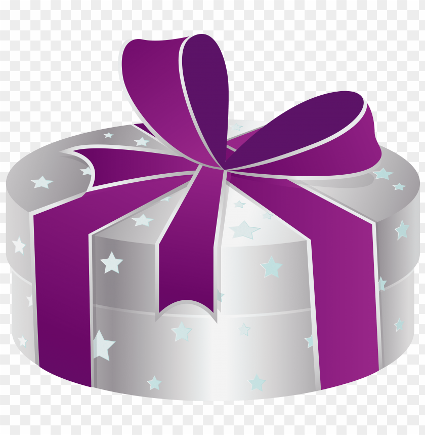 free PNG silver gift box with stars PNG images transparent