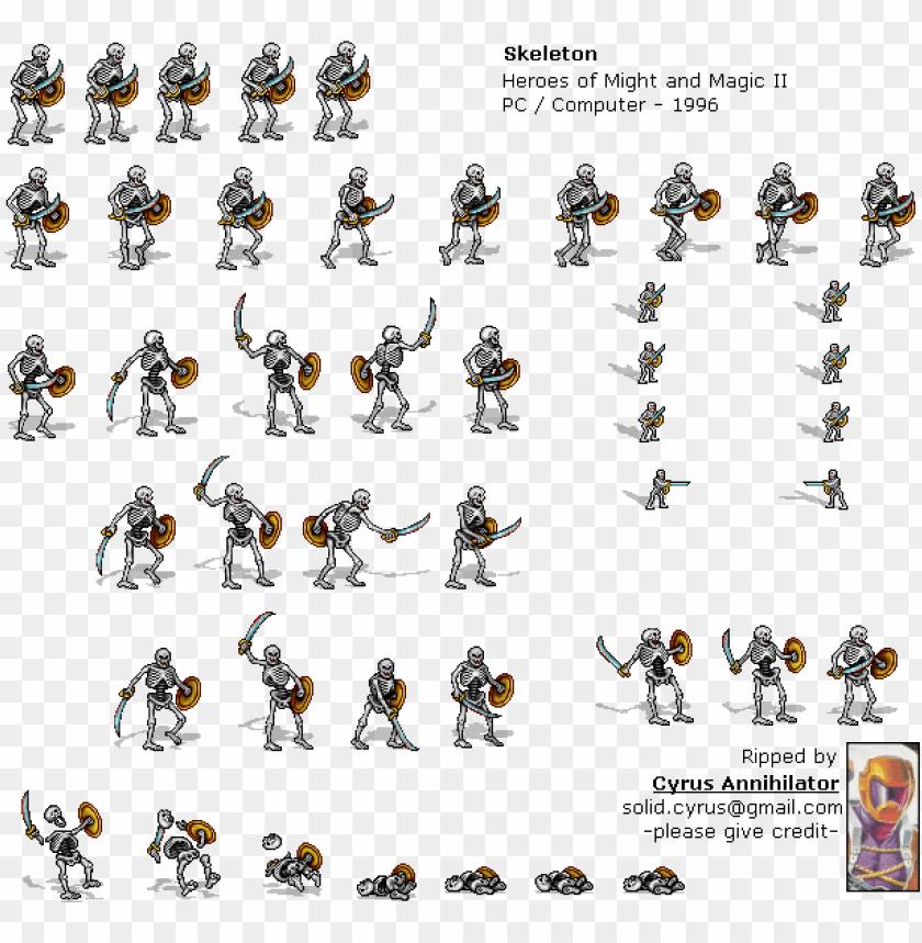skeleton sprite sheet PNG image with transparent background