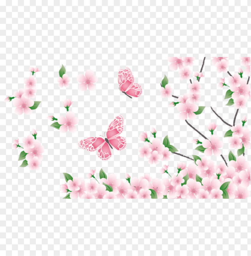 free PNG Download spring branch with pink flowers and butterflies png images background PNG images transparent