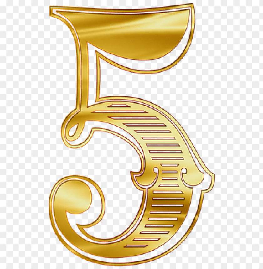 graphic about Printable Numbers 0-9 referred to as exquisite printable figures 0-9 gold - numero 5 en dorado PNG