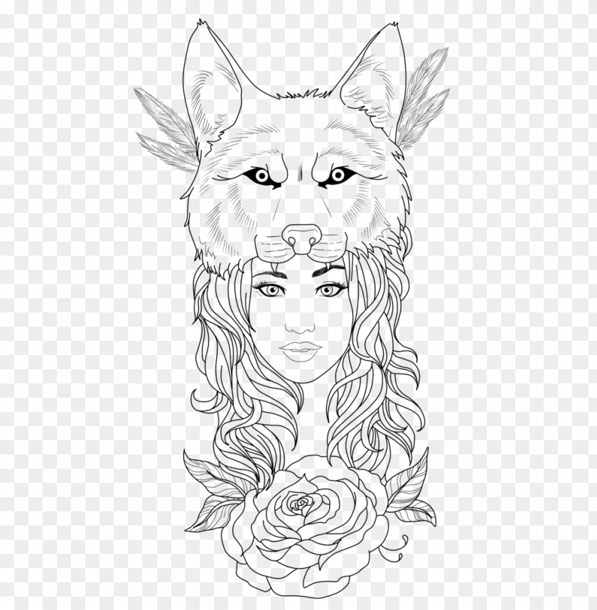 free PNG tattoo woman wolf PNG image with transparent background PNG images transparent
