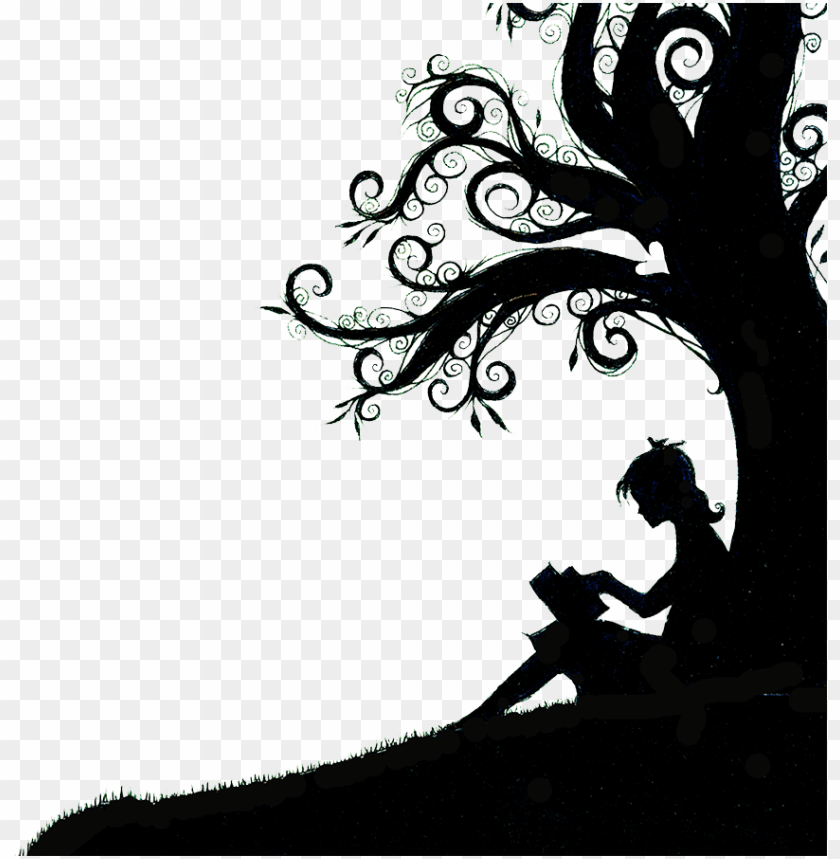 free PNG then they came for me and there was no one left to - silhouette of girl reading under a tree PNG image with transparent background PNG images transparent
