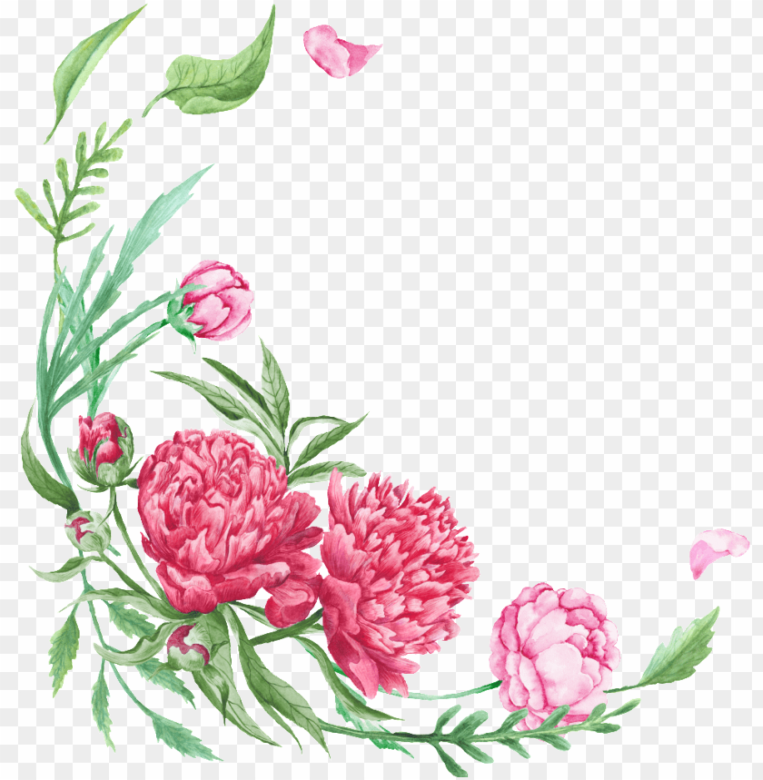 free PNG this graphics is curved floral border transparent decorative - watercolor flowers corner png - Free PNG Images PNG images transparent