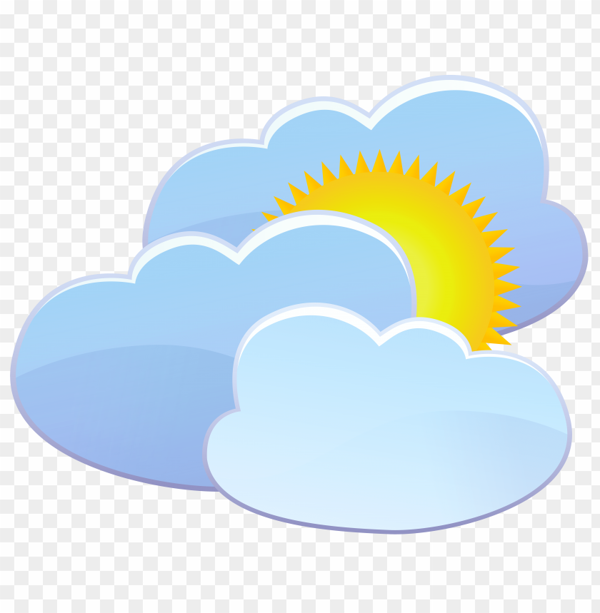 free PNG three clouds and sun weather icon PNG images transparent