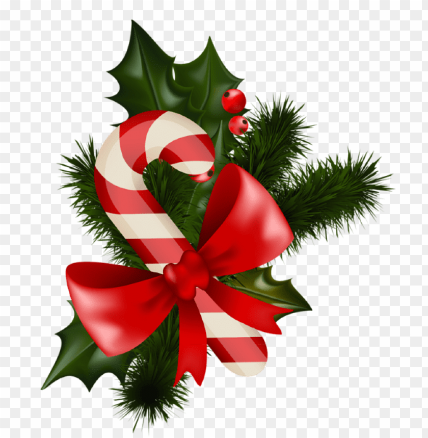 Transparent Christmas Candy Cane With Mistletoe Png Free Png