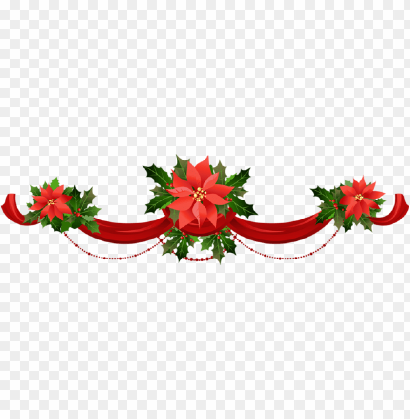 Transparent Christmas Garland With Poinsettias Png Free Png Images