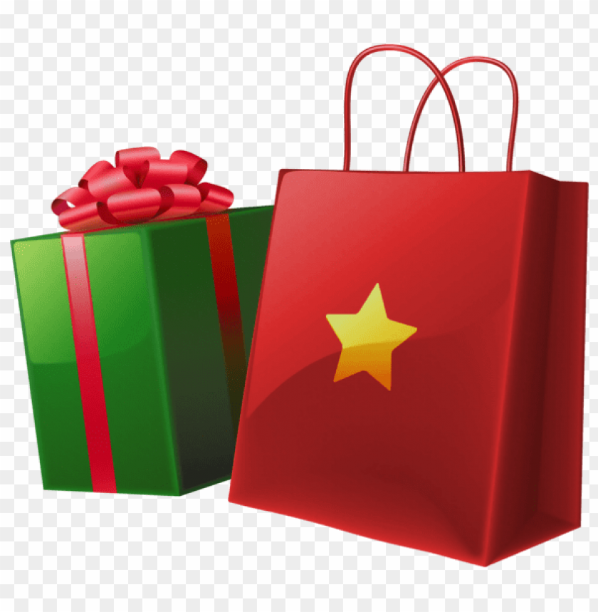 Download Transparent Christmas Gift Box And Bag Clipart Png Photo