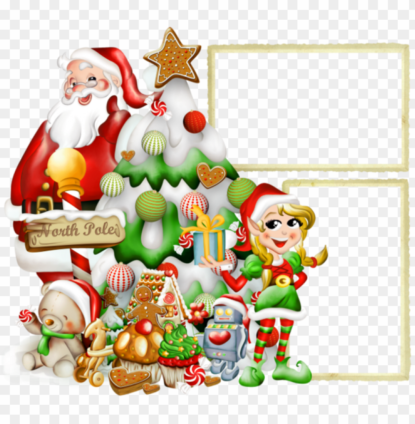 free PNG transparent christmasframe with elf and santa claus background best stock photos PNG images transparent