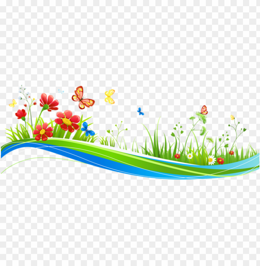 free PNG Download transparent decoration with flowers and butterflies clipart png photo   PNG images transparent