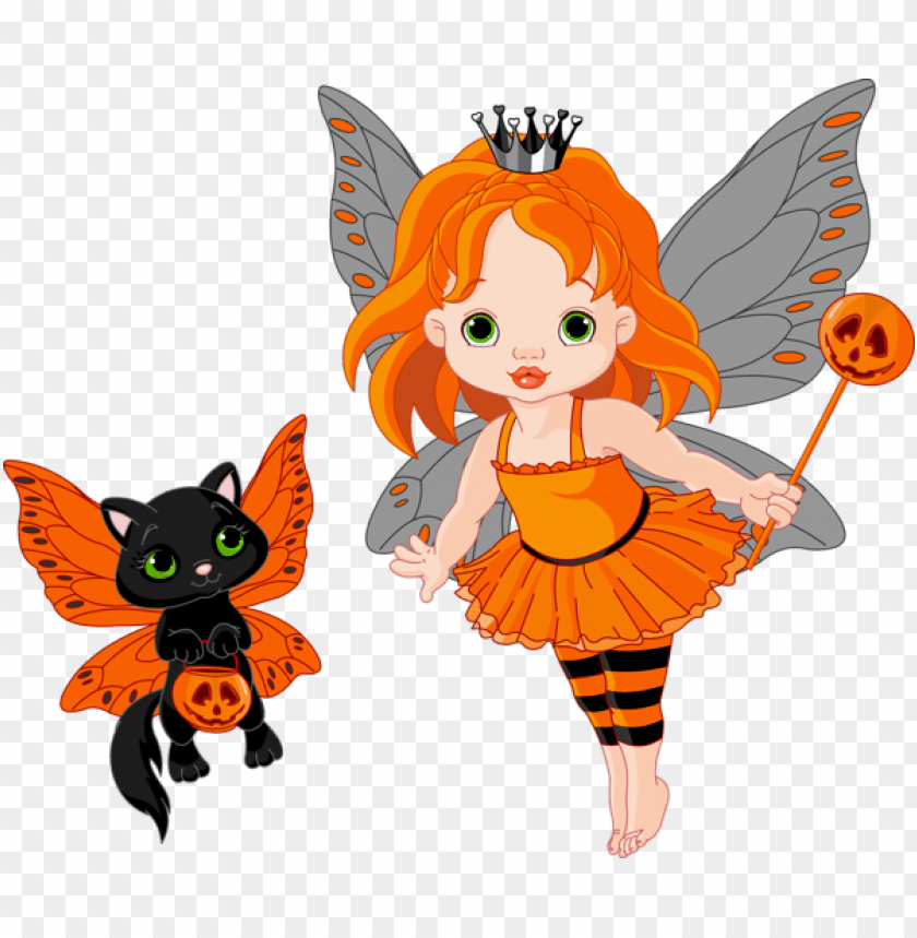 free PNG transparent halloween fairy and cat PNG images transparent