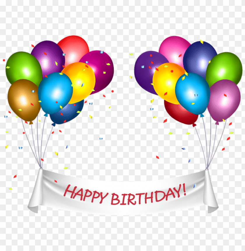 Download Transparent Happy Birthday Banner And Baloons Png Png