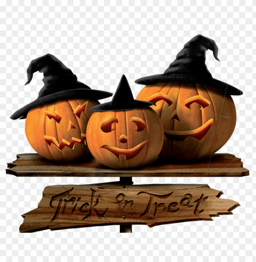 free PNG Download trick or treat sign with pumpkins png images background PNG images transparent