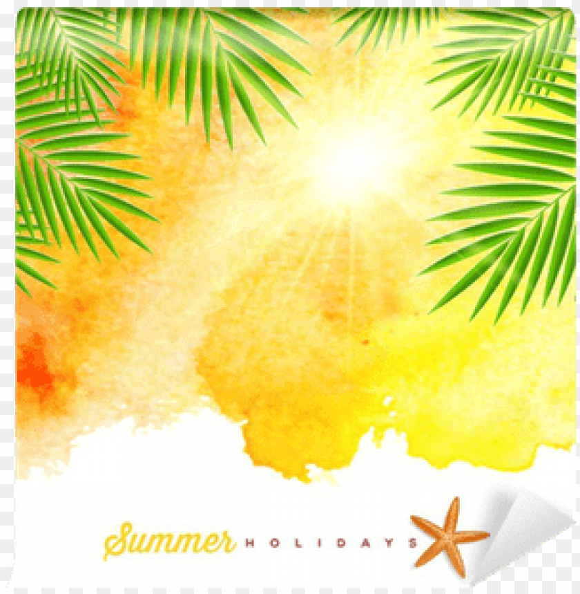 free PNG tropical summer watercolor background wall mural • - palm tree watercolor background PNG image with transparent background PNG images transparent