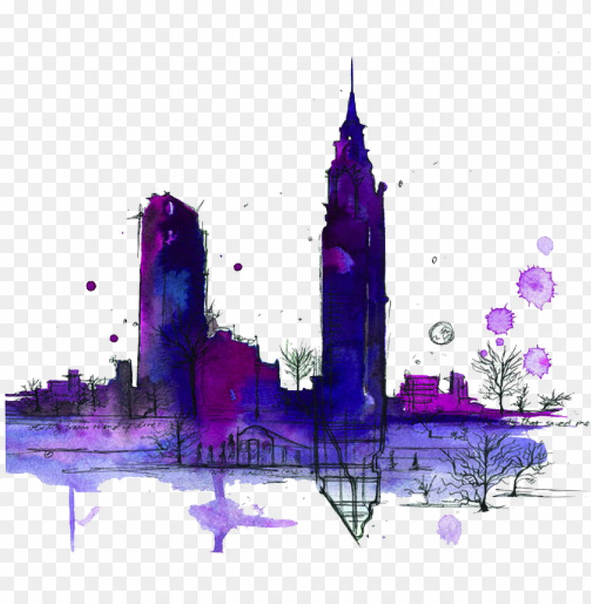 free PNG tumblr transparents purple - new york watercolor PNG image with transparent background PNG images transparent