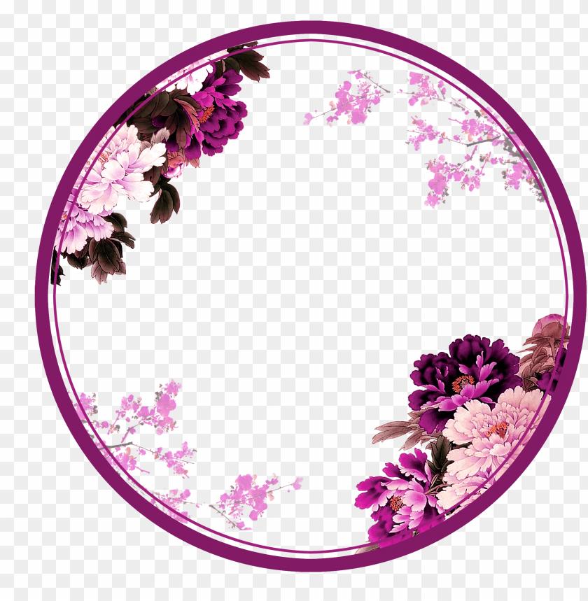 border circle png urple circle png - flower circle border png image with