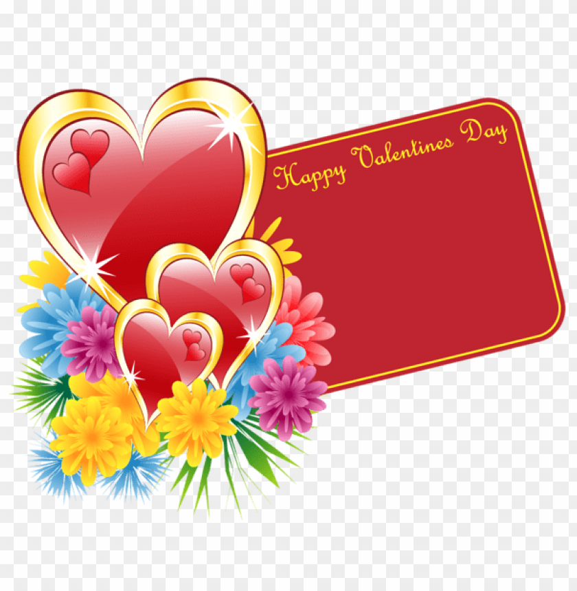 Download Valentine Card With Hearts And Flowers Png Images
