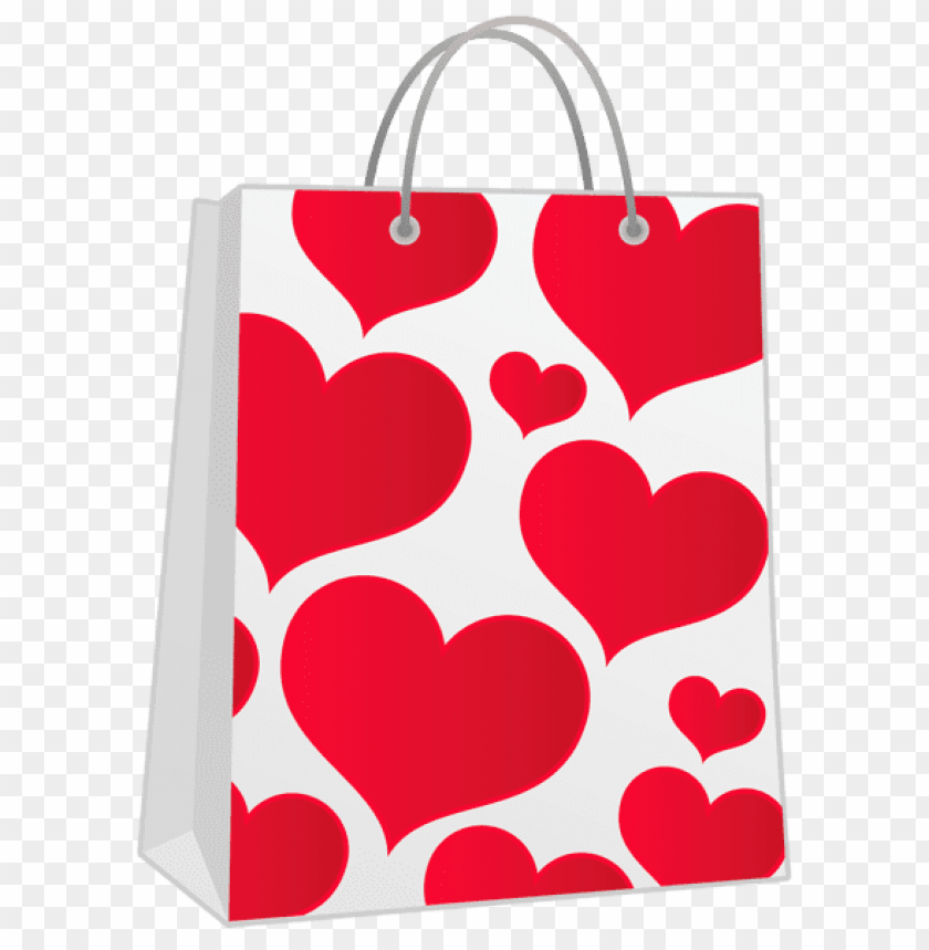 Valentine Red Gift Bag With Hearts Png Free Png Images Toppng