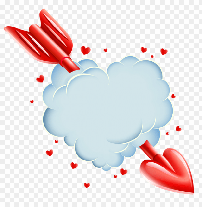 Valentine S Day Cloud Heart With Arrow Transparent Png Free Png