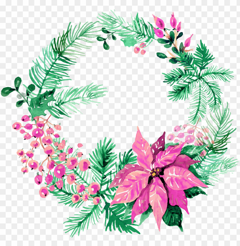 Watercolor Christmas Wreath Png Image With Transparent Background