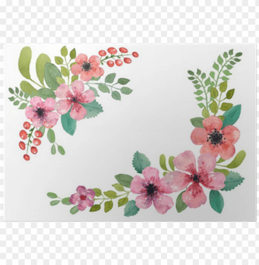 Watercolor Floral Border Square Png Image With Transparent