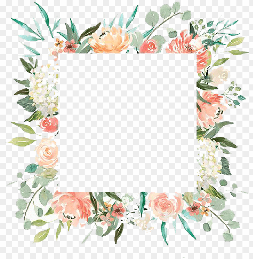 watercolor flower frame PNG image with transparent