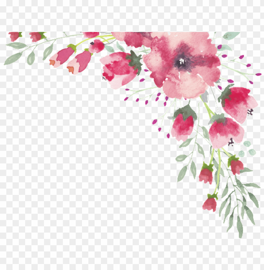 free PNG watercolor flower lace border 1 free , - transparent watercolor flower border png - Free PNG Images PNG images transparent