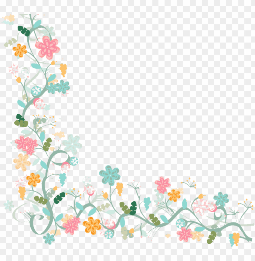 Watercolor Flower Vector Border Png Image With Transparent