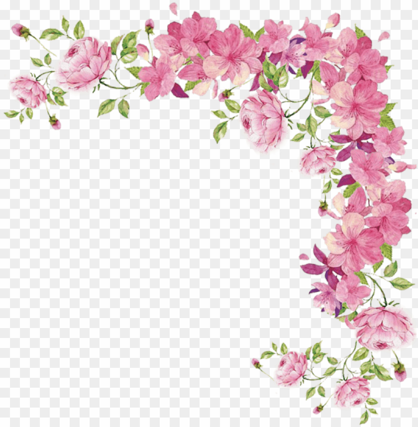 Watercolor Flowers Transparent Pink Flower Border Png Free Png
