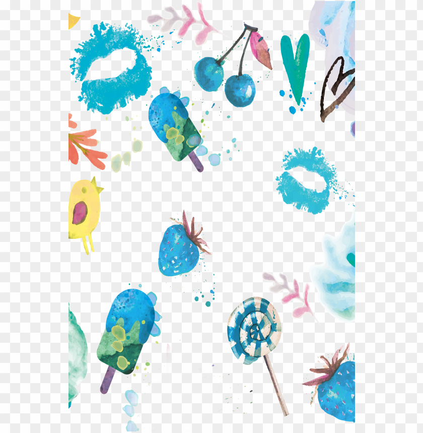 free PNG watercolor painting summer blue - watercolor cute summer eements tote ba PNG image with transparent background PNG images transparent