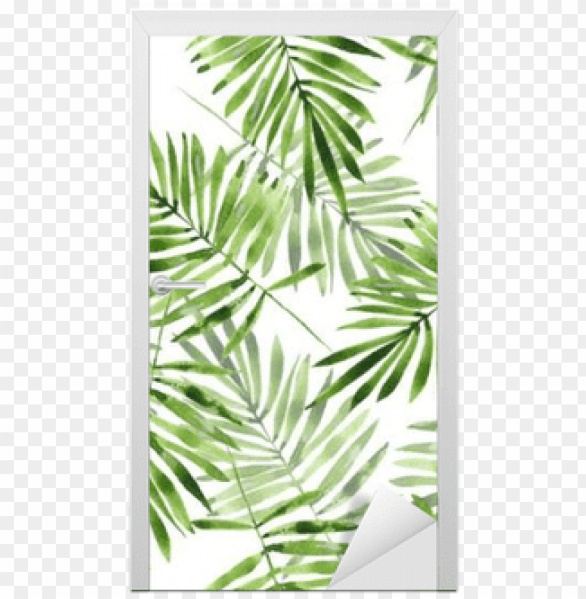 free PNG watercolor seamless pattern 2 door sticker • pixers® - palm leaves PNG image with transparent background PNG images transparent
