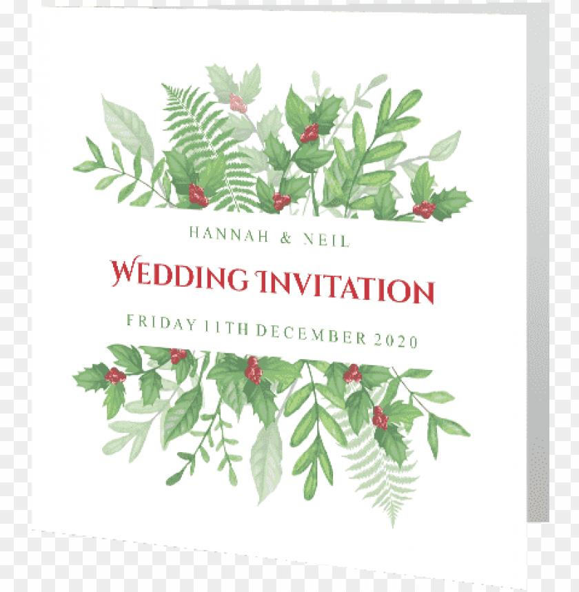 Christmas Invitation Background Png.Wedding Day Invite Christmas Greenery Holly 140mm X Weddi