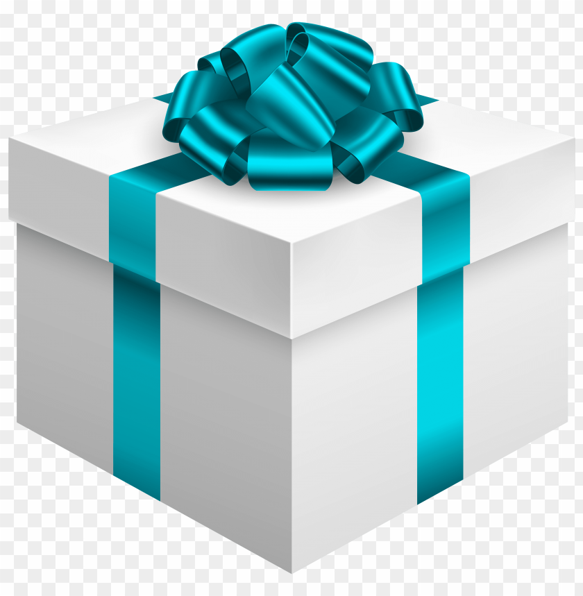 free PNG white gift box with blue bow PNG images transparent
