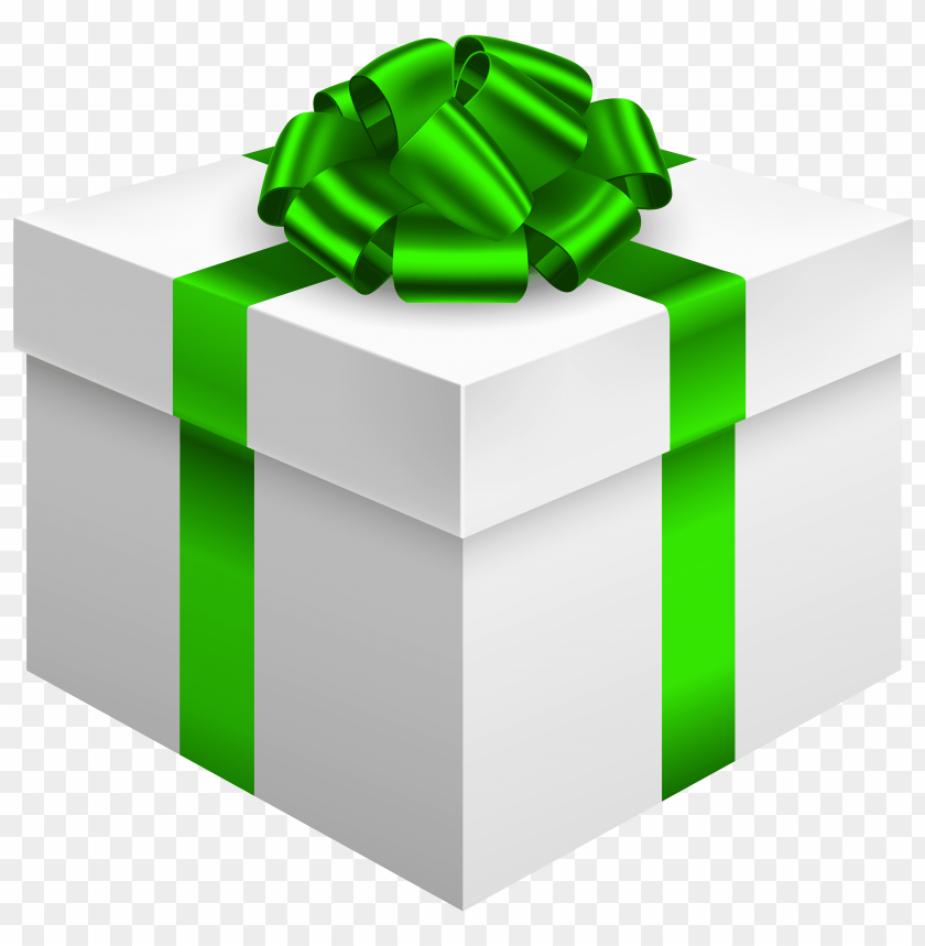 free PNG white gift box with green bow PNG images transparent