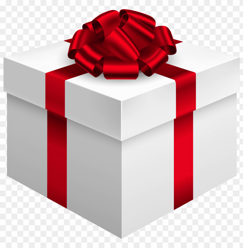 free png white gift box with red bow PNG images transparent