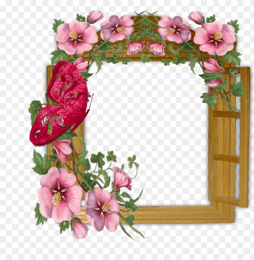 free PNG wooden winow with flowers and butterfly transparent frame background best stock photos PNG images transparent