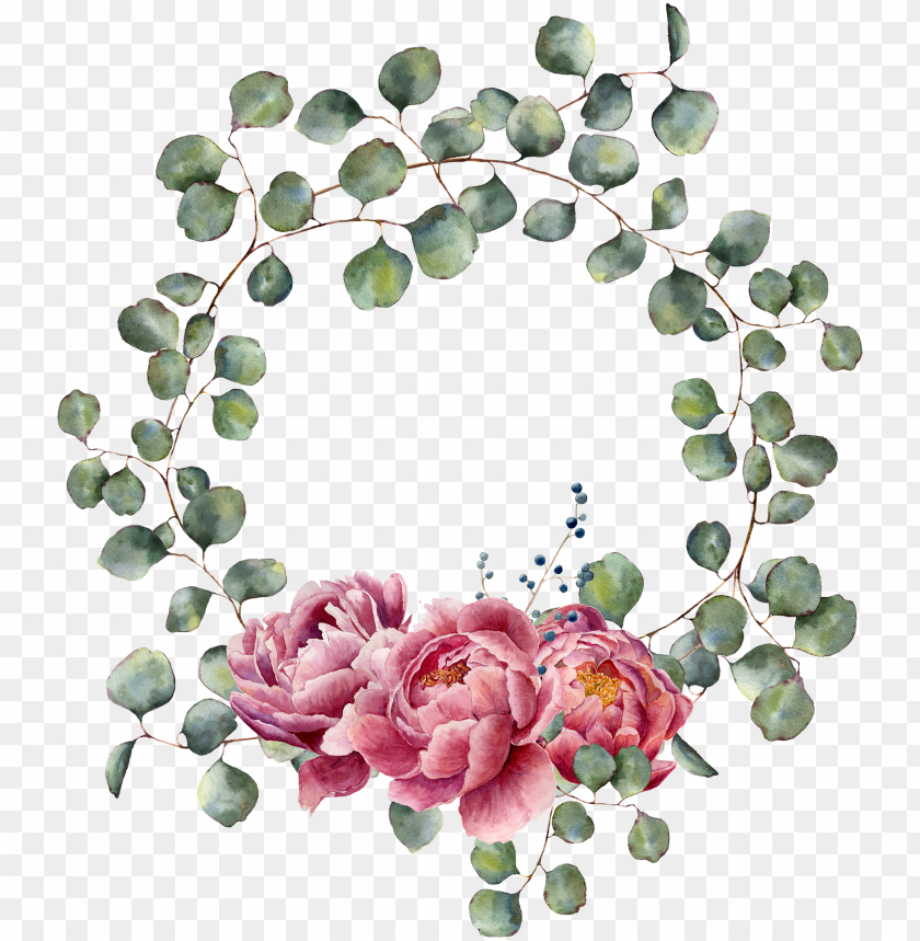 free PNG wreath watercolor, watercolor art, decoupage box, planner, - free watercolor eucalyptus with flower wreath PNG image with transparent background PNG images transparent