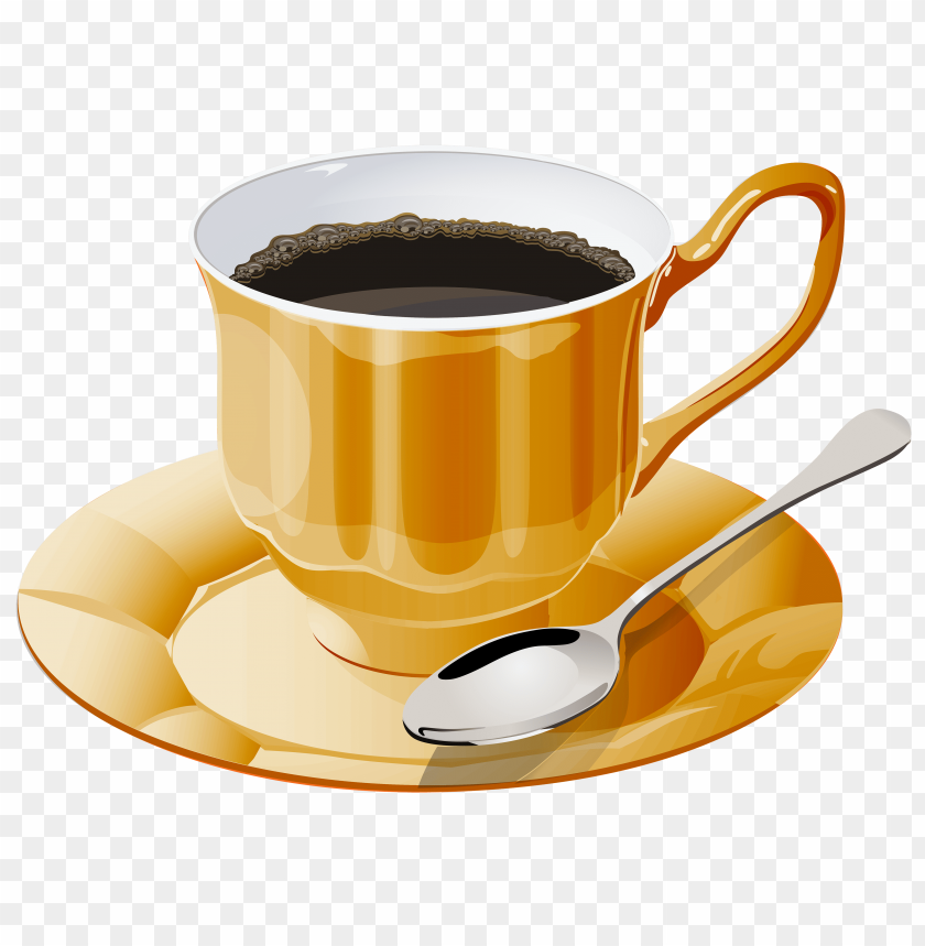 free PNG yellow cup of coffee PNG images transparent