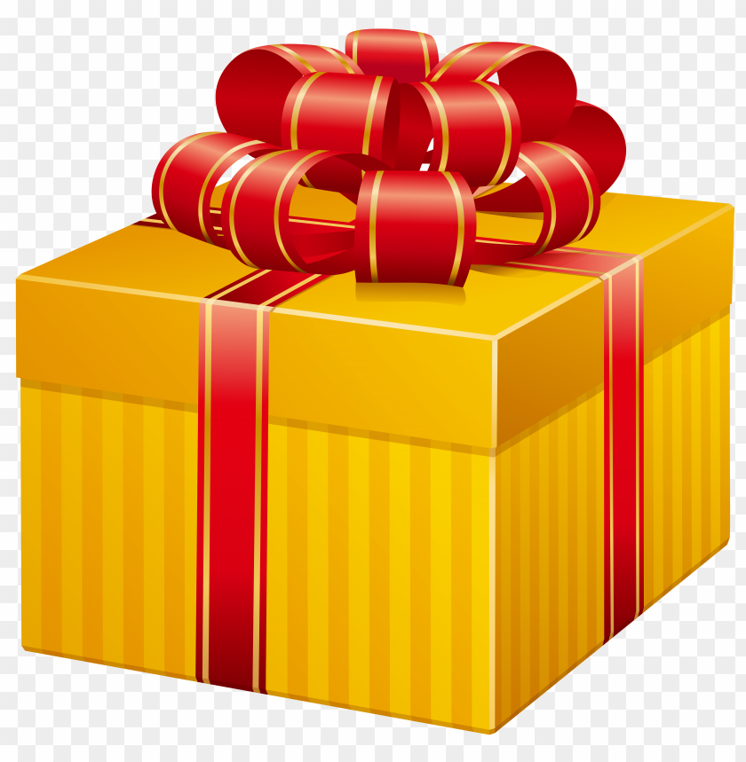 free PNG yellow present box PNG images transparent