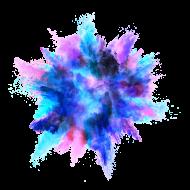 Blue Color Powder Explosion