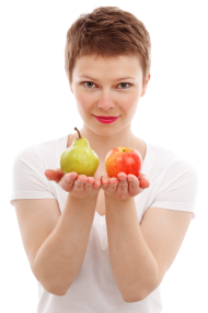 girl holding tow apples