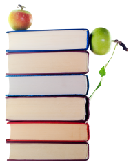 green apples in stack of books