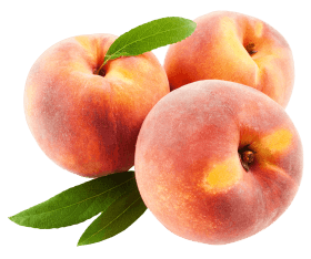 Peach Fruits with Leafs