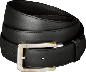 slim black belt with golden buckles