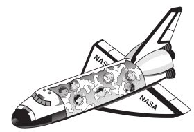 Space Shuttle with astronauts