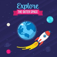 The Outer Space with rocket