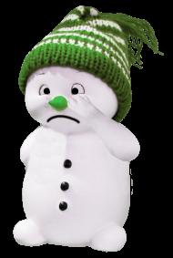 white snoman with green cap
